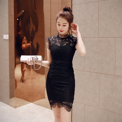 1d9b3d93d00 Summer Black Lace Dresses Stand Collar Sleeveless High end Women Dress  Office Lady Sexy Party Vintage Bandage Bodycon Mini Dress-in Dresses from  Women s ...
