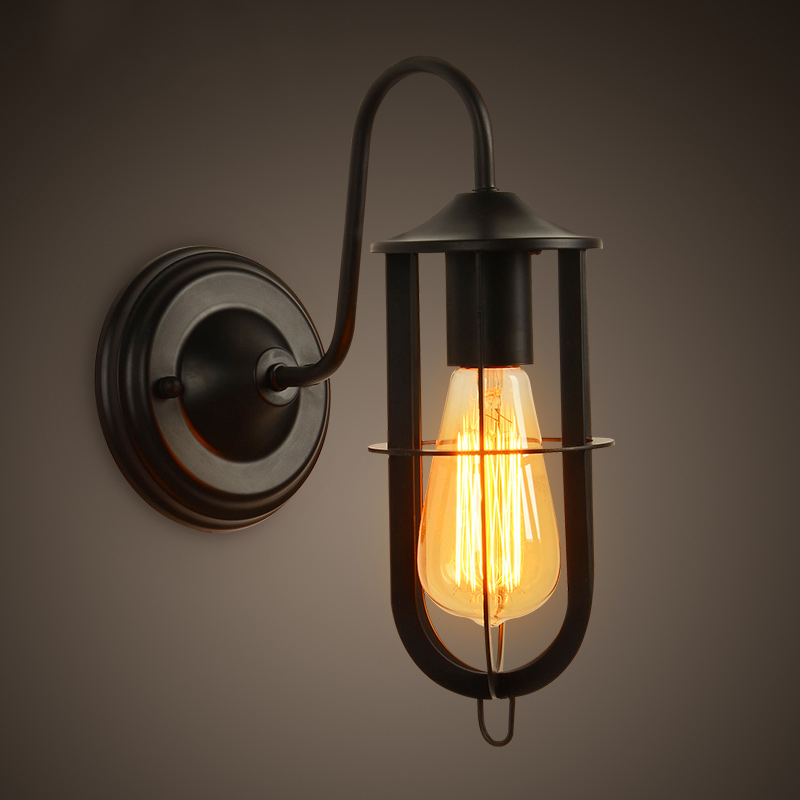 Loft Vintage Nostalgic Industrial Lustre Ameica Iron Edison Wall Sconce Lamp Mirror Beside Bedroom Home Decor Modern Lighting купить