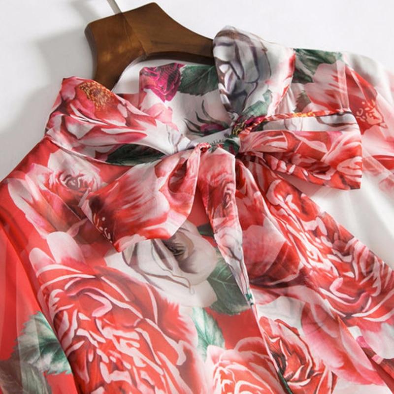 De 2018 Printemps Longue En Soie Manches Fleur Rose Féminine Robe Col B030 Arc Femmes Été Chauve Lâche Mousseline Maxi Robes Imprimé Printed souris ptqqwPE