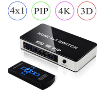 Mini 4K 4 Port HDMI PIP Switch 4×1 HDMI Switch PIP Support Picture-In-Picture Switch HDMI PIP With IR Remote Control For PS4