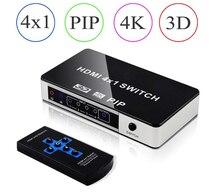 Mini 4K 4 portowy przełącznik HDMI PIP 4x1 przełącznik HDMI PIP wsparcie przełącznik obrazu w obrazie HDMI PIP z pilotem na podczerwień dla PS4