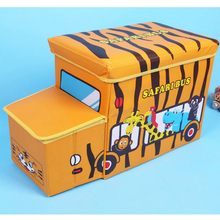 Large Coated Non-Woven Storage Chair  Folding Storage Box Multi-functional Cartoon Animal Car Pattern 90 L Organizer Box