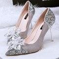 2016 nuevas Mujeres de la manera zapatos de lentejuelas zapatos de tacón alto en punta fina con diamantes de imitación zapatos del deslizador de cristal de boda bombas de Las Mujeres