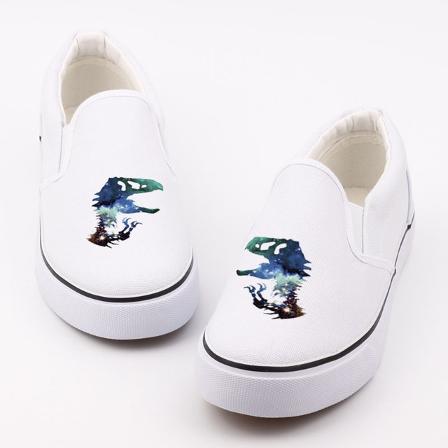 Cool Cartoon Dragon Design Canvas Shoes Loafers Women Casual Walking Shoe  Printed Dinosaur Slip On Lazy Shoes Espardrilles 8eed19bed08