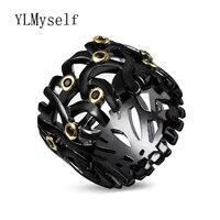 Líneas de diseño anillo de ajuste del corte redondo del oro 2 tono de color Negro jet crystal piedras joyería de calidad estable proveedor china anillo
