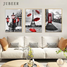 Nordic Style Landscape Poster Paris Tower Red Telephone Booth Wall Art Picture Cuadros Decoracion Salon Posters And Prints