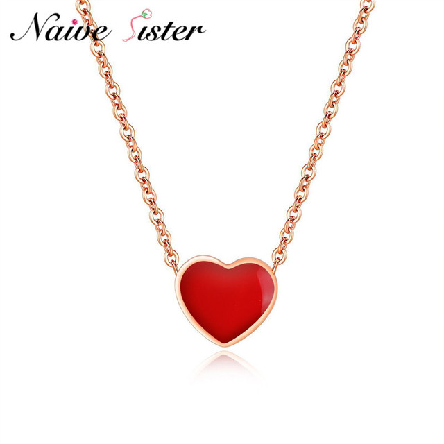 Minimalist Small Cute Heart Necklace Red Pink Color Pendants For