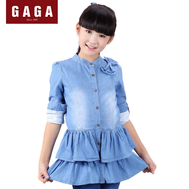 44f119af5ed GuaGuaEgg 2016 Winter and Autumn Girls Denim Dress Ball Gown Long Sleeve  Original Design Kids Clothes With Bow Dark Blue Dresses