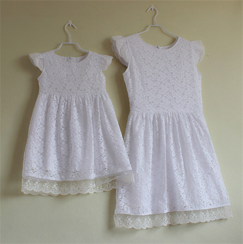 Brand floral pleated short Sleeves slim sundresses mom and girl vacation dress family look clothes mother daughter lace dresses brand a line floral embroidery pleated sleeveless skirts women girl sundresses family matching clothes mother and daughter dress