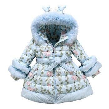 2019 חורף פרווה צווארון בנות מעילי חמוד סגנון עבה חם מעיילי מעיל ילדי כותנה מרופד מעילי עבור בנות 4- 12 שנים