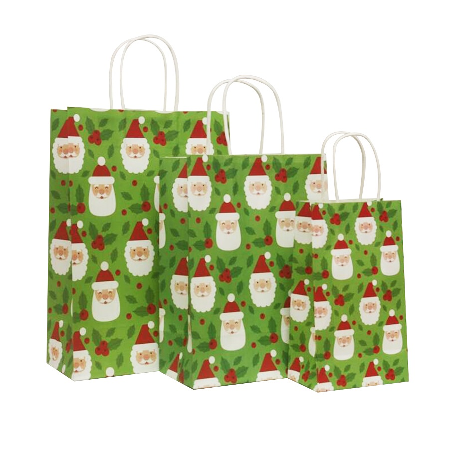 Купить с кэшбэком 40 Pcs/lot 21x13x8cm Christmas Paper Bag With Handles Decoration Paper Gift Bag For Christmas Event Party Lovely Cute Paper Bags
