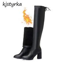 Kjstyrka botines mujer 2018 inverno confortável braço de design da marca na altura do joelho-Alta botas de salto alto mulheres moda suave bota feminina