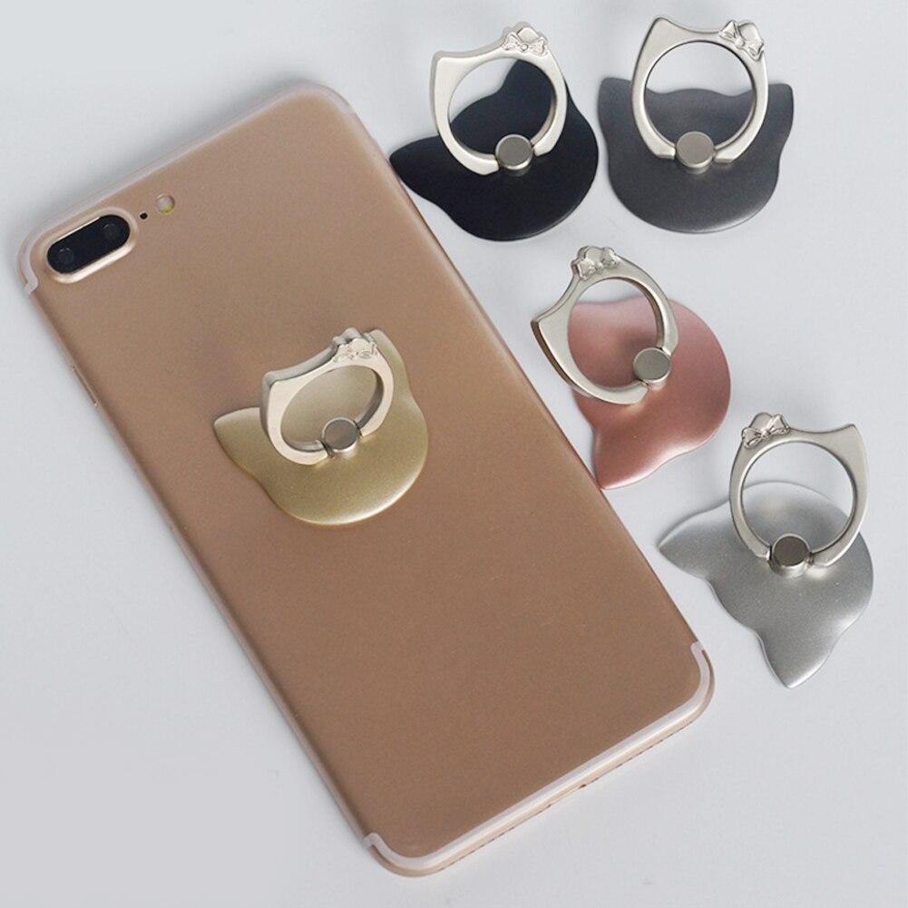 Alloet 1 unids 3D gato forma anillo de dedo de 360 grados soporte de teléfono móvil universal para Samsung Huawei xiaomi teléfonos
