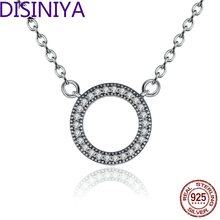 2019 Hot Style 100% Real 925 Sterling Silver Lucky Circle Romantic Pendant Necklaces For Women Sterling-Silver-Jewelry CRN010