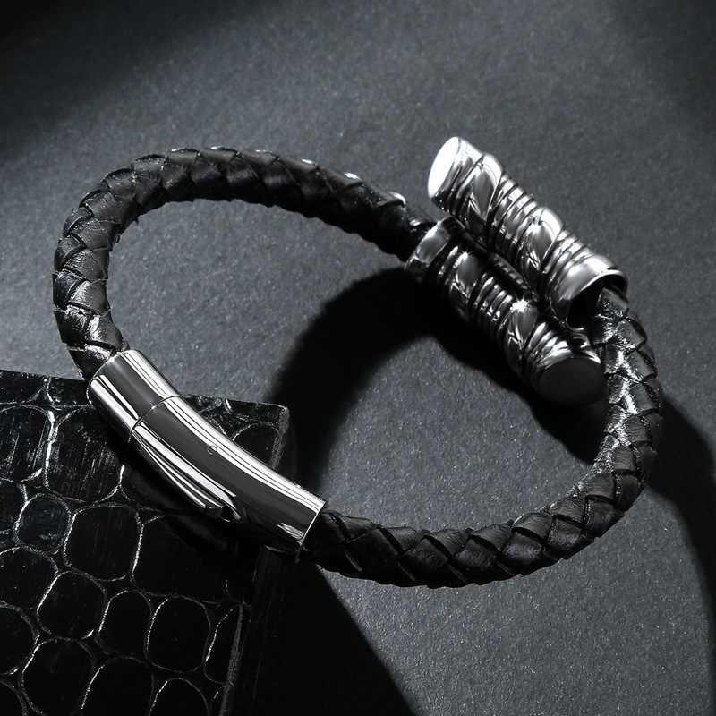 Men Bracelet Bangle Braided Leather Bracelet Fashionable Stainless Steel Handcuffs Nails Feminine Charm Bracelets Birthday Gifts