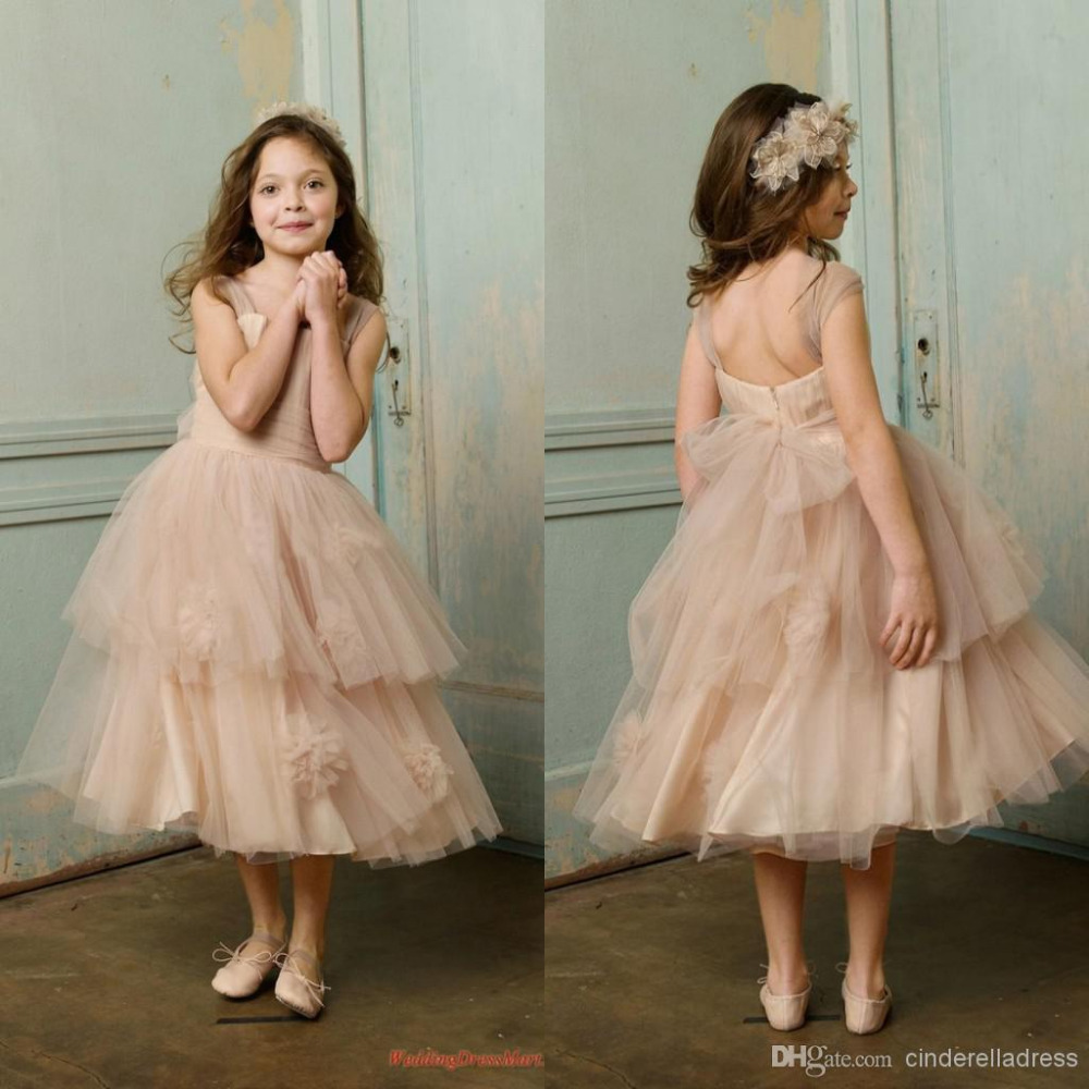 Cute   Flower     Girls     Dresses   Ruched Ball Gown Tulle Tea-Length Champagne Pageant   Dresses     Girls   Party 2019 New Designer