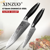 XINZUO 2 Pcs Kitchen Knives Set Damascus Kitchen Knife High Quality Japanese VG10 Chef Utility Knife