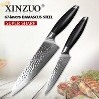 XINZUO 2 Pcs Kitchen Knives Set Damascus Kitchen Knife High Quality Japanese VG10 Chef Utility Knife