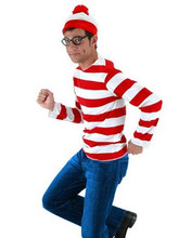 Where's Wally Waldo TV Cartoon Stag Night Outfit Adult Mens Fancy Dress Costumes halloween costume for Boys and Girls cosplay