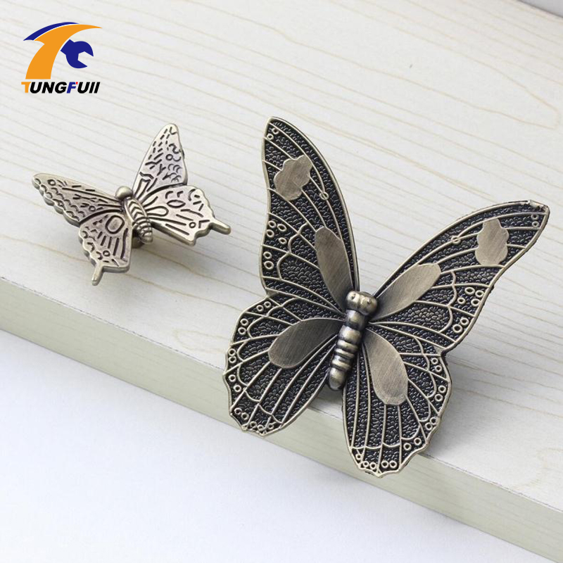 buy antique bronze kitchen cabinet knobs pulls handles decorative furniture knob pull cute cartoon butterfly knobs for children room from