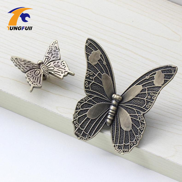 Antique Bronze Kitchen Cabinet Knobs Pulls Handles Decorative Furniture Knob  Pull Cute Cartoon Butterfly Knobs For