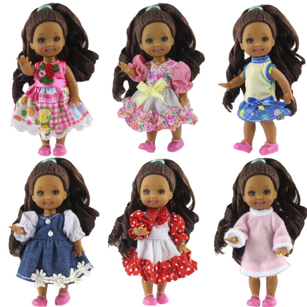 NK One Pcs Cute Mini Doll Dress Daily Wear Gown Clothes For Barbie Sister Kelly Doll Accessories Dollhouse Toys 6X JJ