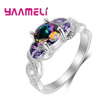 925 Sterling Silver Jewelry Anillos Mujer Attractive CZ Stone Ring For Women Wedding Gifts Multicolor Changes with light(China)