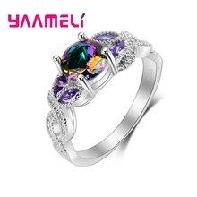 220160d3a15b YAAMELI de la joyería de la plata esterlina 925 Anillos Mujer atractiva CZ  anillo de piedra para las mujeres regalos de boda .