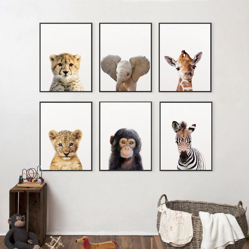 Canvas Painting Poster Wall-Decor Animals Picture Nursery Art-Print Lion Elephant Giraffe Baby