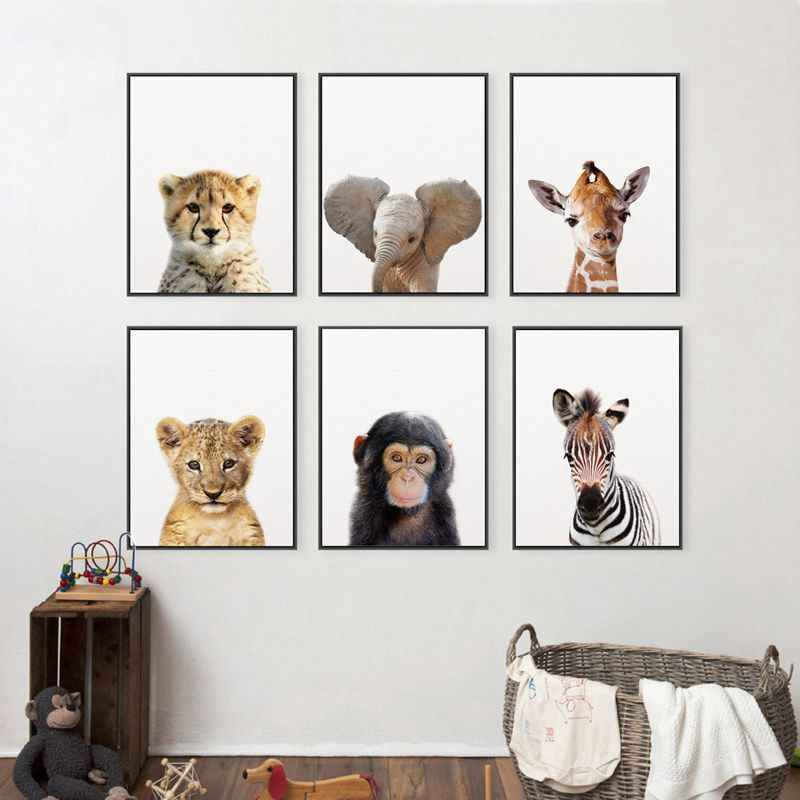 Lion Zebra Elephant Giraffe Baby Animals Art Print Poster, Safari Animals Picture Canvas Painting Kids Room Nursery Wall Decor