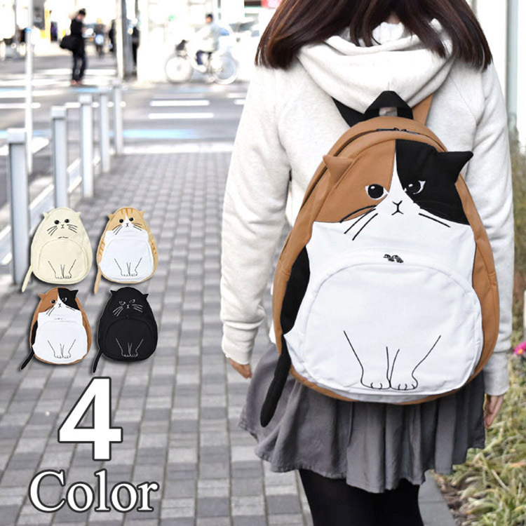 2018 Newest Fashion Cat backpack For Teenagers Girls Unisex Cute Character backpacks Cartoon bag Cotton women bags Special cute cat shape and japanese character print design satchel for women