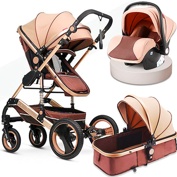 Baby Strolle Multifunctional 3 in 1 Baby Stroller High Landscape Stroller Folding Carriage Gold Baby Stroller Newborn Stroller