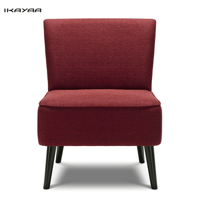 IKayaa US UK FR Stock Padded Big Seat Accent Side Chair Linen Fabric Upholstered  Lounge Chair