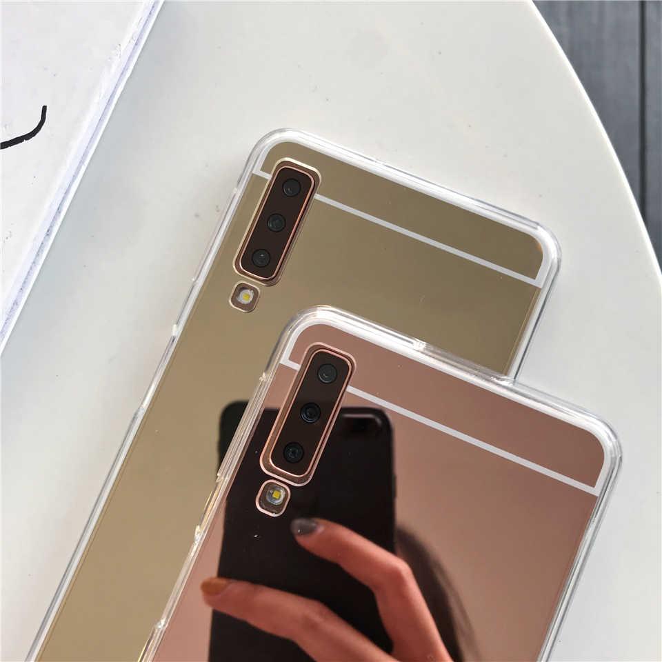 For Samsung Galaxy A7 A6 A8 J4 J6 J8 2018 Cover Mirror Case Cute Soft TPU Cover For S10 Plus S10E S8 S9 Note 9 M10 M20 A30 A50
