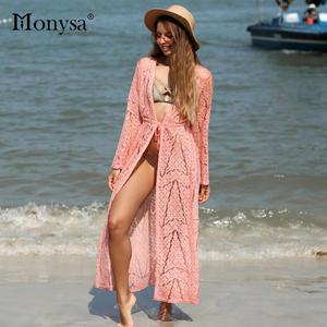 d963d2c9851b Monysa Lace Bikini Cover Up Black Swimwear Pink Swimsuit Women Pareo Beach  Cover