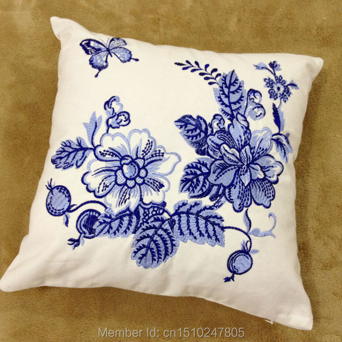 Blue And White Porcelain Pillows Decorate Embroidered