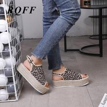 Platform Wedge Sandals Women Pu Leather Footwear Woman Peep Toe Casual Fashion Leopard Med High Heels Ankle Buckle Strap Shoes недорго, оригинальная цена