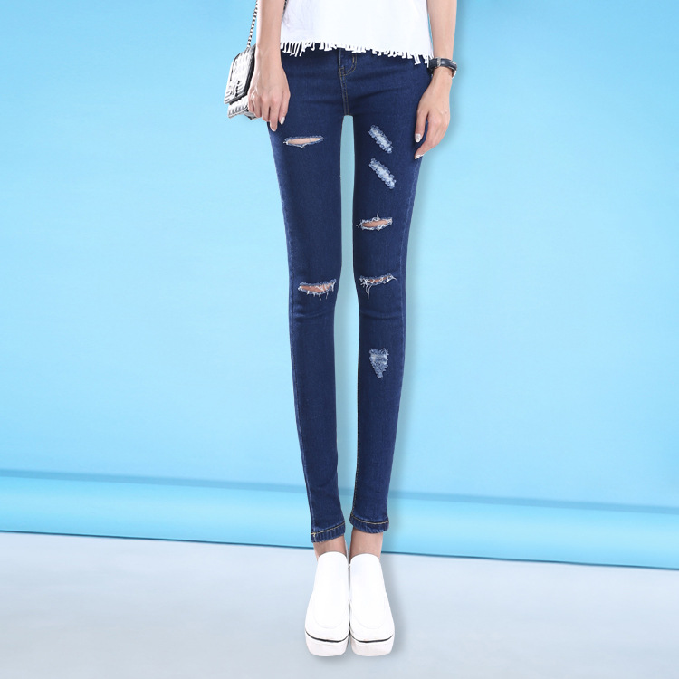 ФОТО high Waist Stretch Ripped Knees Distressed Skinny Denim Jean Pants Jeans Woman