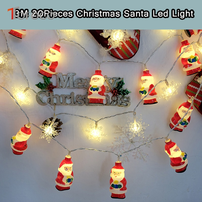 TOFOCO 3M 20pcs Santa Claus Plastic LED Christmas String Icicle Pandant Flashing Toy Gift X-mas Decoration DIY Warm Light