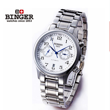 2017 New Designer Top brand Steel Band Watch Men Automatic White Dial Watches Mechanical Binger Wristwatch Promotion Wholesale 2017 luxury men watch automatic mechanical watch multifunction binger famous brand watch gold case white dial full steel strap