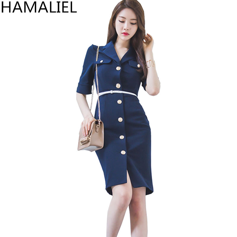 hamaliel wanita sheath gaun formal 2017 busana musim gugur tunggal breasted shrot lengan bodycon lapel