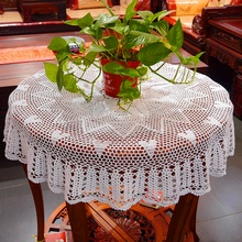 Crocheted Round Table Cloth / Handmade hook flowers cotton hollow lace / Many Uses Mats pads Cover / Classic Europen Style 120CM