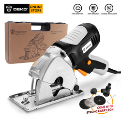 DEKO DKMS85Q2 Mini Circular Saw with 4 Blades, BMC Box Electric Wood Saw Home DIY Personal Safety and Electrical Safety System