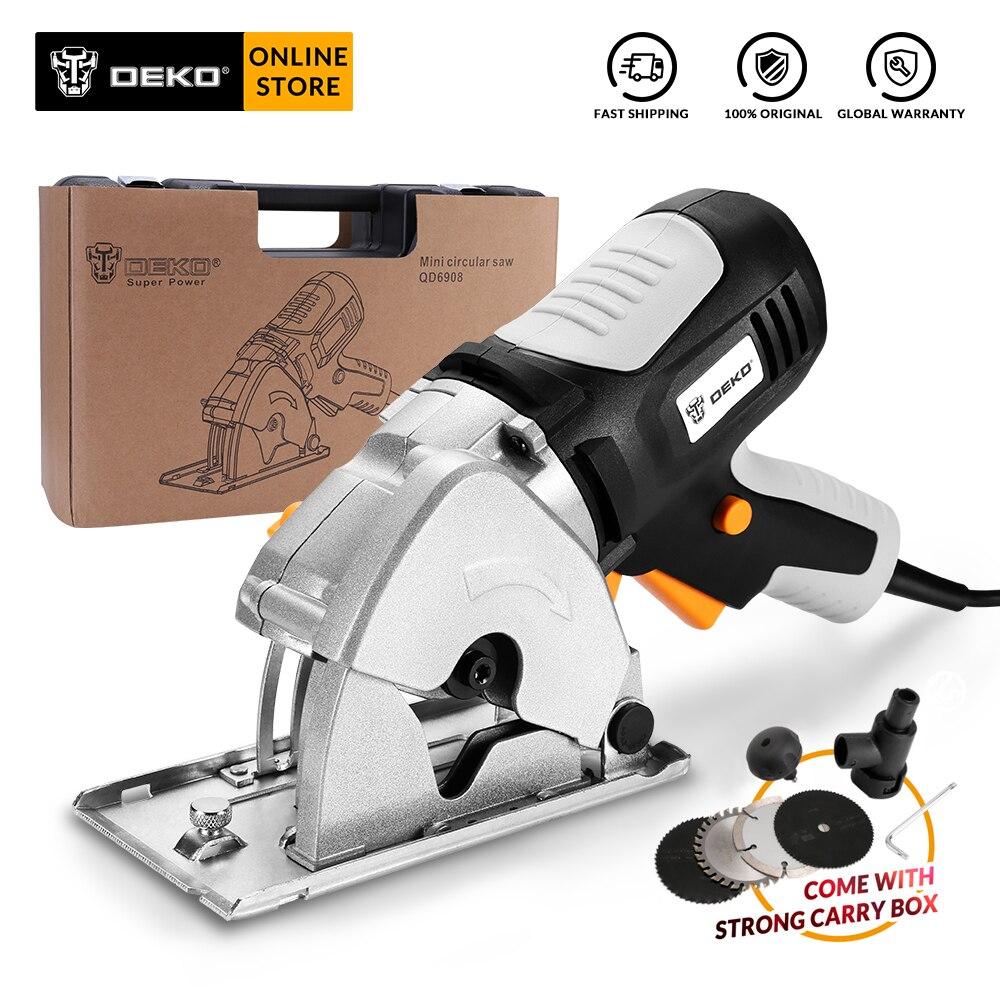 DEKO QD6908 Mini sierra Circular con 4 cuchillas, caja BMC Sierra de madera eléctrica hogar DIY Personal seguridad y sistema de seguridad eléctrica