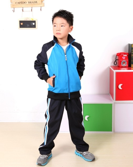 Childrens clothing 2018 spring and autumn long-sleeved students sports suit stitching long-sleeved shirt + pants