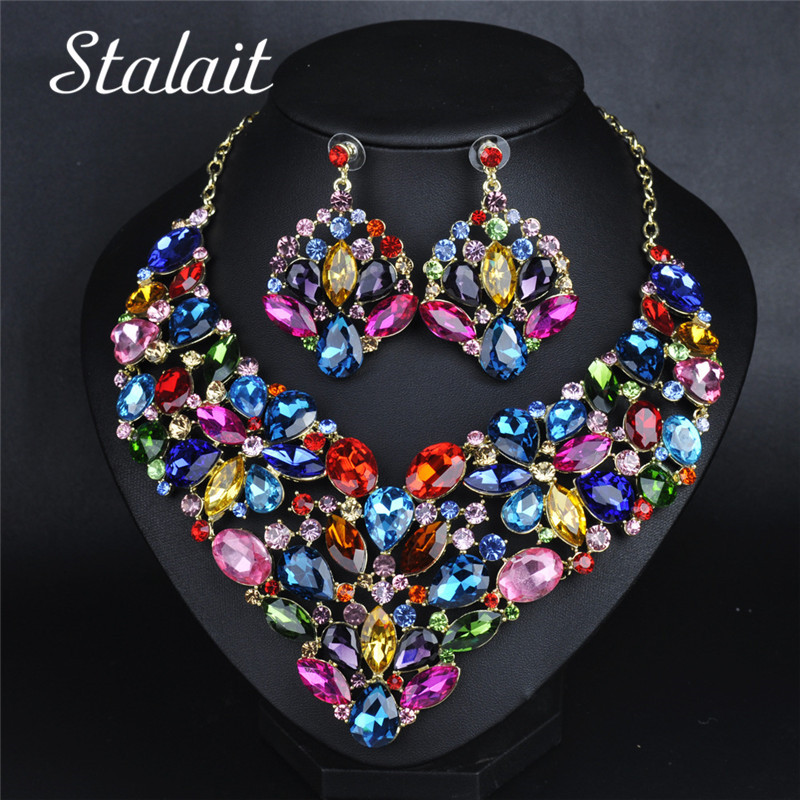 Big Colorful Crystal Pendant Jewelry Sets Women Gothic Flower Necklace Earring Jewelry Sets For Party trendy gothic vivid beaded pendant lace necklace for women