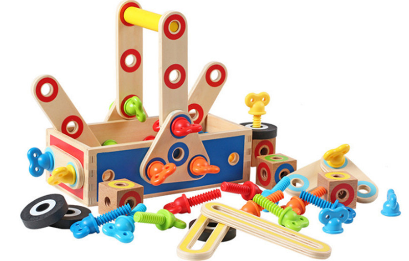 New Wooden Baby TOys Colorful Assembly Tool Box Baby Stimulation Toys Baby Gifts baby toys wooden block 12 pcs models