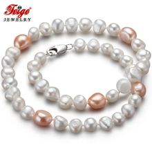 Feige Special offer Baroque 7-8/10-11MM White/Pink Freshwater Pearl Necklace for Women Trendy style Fine Jewelry Bijoux