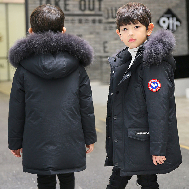Boy 2017 new Korean thickened down jacket winter for size 8 9 10 11 12 13 14 15 16 years child big fur collar hooded coat цены онлайн