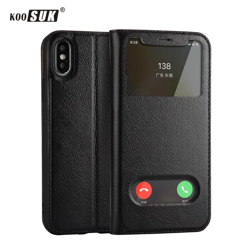 KOOSUK Yak Leather Cover For iPhone X 10 Luxury Smart Window Flip Protect <font><b>Case</b></font> For Apple <font><b>iphoneX</b></font> Genuine Leather Phone Bags New image